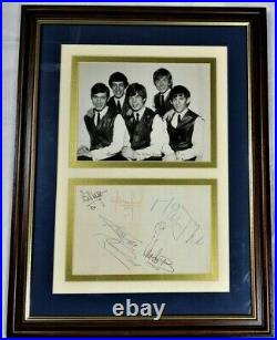 1960s ROLLING STONES PHOTO ABOVE THE HAND SIGNED AUTOGRAPHS OF EACH BAND MEMBER