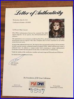 Adele Adkins Signed Autographed Rolling Stone Magazine Rare 19 21 25 Psa Loa