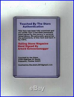 Arnold Schwarzenegger Autograph Hand Signed Rolling Stone Magazine Cover COA