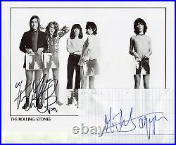 Autographes de MICK JAGGER & CHARLIE WATTS sur Photo ROLLING STONES + Feuillet