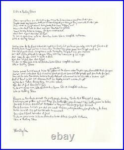 Bob Dylan Signed Handwriten Lyrics Like a Rolling Stone