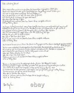 Bob Dylan Signed Handwritten Lyrics- Like Rolling Stone