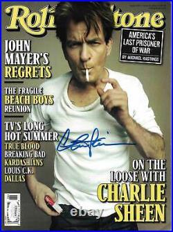 Charlie Sheen Autographed/Signed 2012 Rolling Stone Magazine JSA 25591