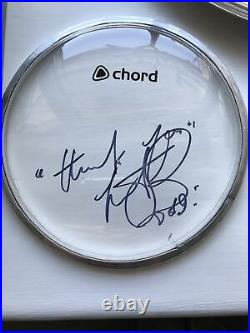 Charlie Watts Hand Signed Drum Skin Rolling Stones