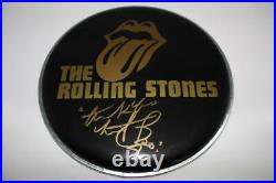 Charlie Watts Signed Autograph Drumhead Rolling Stones Legend, Black And Blue