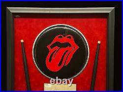 Charlie Watts Signed Framed Rolling Stones Drumhead To Mark Autograph JSA COA