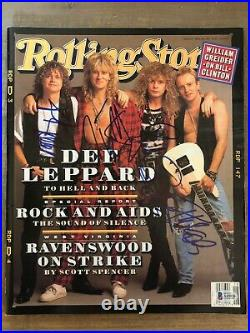 Def Leppard (all 4) Autographed Signed Rolling Stone 4/30/92 Certified BAS LOA