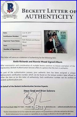 Keith Richards & Ron Wood Autographed Rolling Stone Album Bas Coa Framed Photo