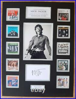 Mick Jagger Rolling Stones Signed / Autograph Display Singles Collection