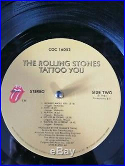 ORIGINAL signed ROLLING STONES autographed TATTOO YOU LP COC 16052 US 1981