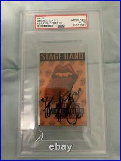 ROLLING STONES DRUMS CHARLIE WATTS Back Stage Pass Slabbed And Certfied By Psa