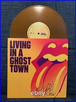 ROLLING STONES Signed Autographed LIVING IN A GHOST TOWN 10' VINYL CHARLIE WATTS