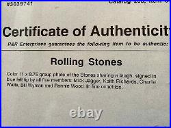 ROLLING STONES signed 8x10 All 5! Jagger Richards Wyman +2 autograph, RR COA