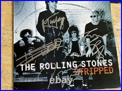 Rare Authentic Rolling Stones Signed Lp Record Cover 4 Autographed Stripped