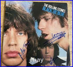 Rare Authentic Rolling Stones Signed Record Cover 5 Autographed Black And Blue
