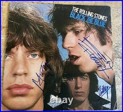 Rare Authentic Rolling Stones Signed Record Cover 6 Autographed Black And Blue