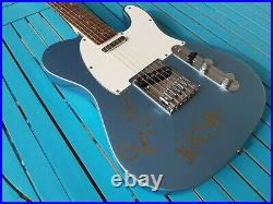 Rolling STONES autograph mick & ronnie FENDER telecaster guitar signed live