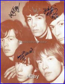 Rolling Stones Autographs JaggerRichardsWymanWatts Signed 14x11 Photocard