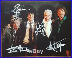 Rolling Stones Jagger Richards Watts Wood org Hand Signed Autographed Photo COA
