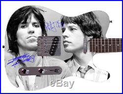 Rolling Stones Keith Richards Mick Jagger Facsimile Autographed Guitar