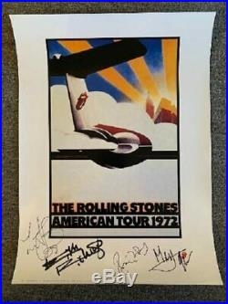 Rolling Stones Lithograph Autographed 1972 American Tour