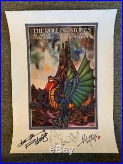 Rolling Stones Lithograph Autographed Cardiff 1973