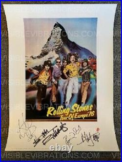 Rolling Stones Lithograph Autographed Tour of Europe 76