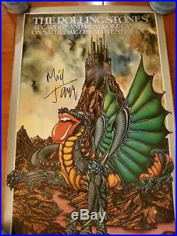 Rolling Stones Poster Cardiff Castle / 9-22-1975 / Mick Jagger Autograph