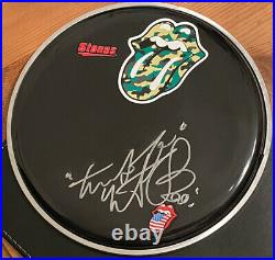 Rolling Stones Signed Autographed Drum Head, Charlie Watts
