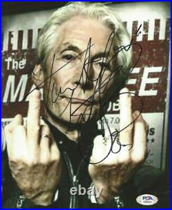 Rolling Stones drummer Charlie Watts autographed 8x10 photo flipping bird PSA