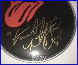 Signed Charlie Watts The Rolling Stones 8 Black Drum Head Rare Authentic Jagger