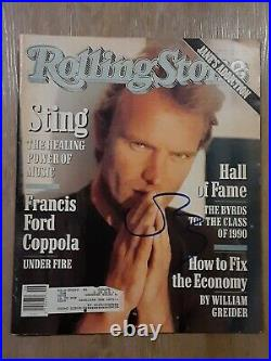 Sting Of The Police Autographed Signed February 1991 Rolling Stone Magazine Rare