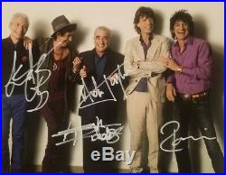 THE ROLLING STONES FULL BAND Hand Signed Autograph 8 x 10 Photo with COA