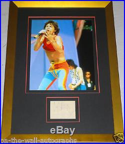 THE ROLLING STONES MICK JAGGER HAND SIGNED AUTOGRAPHED CUSTOM FRAMED PAGE! WithCOA