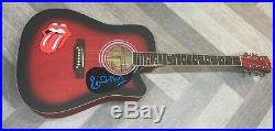 THE ROLLING STONES SIGNED RONNIE WOOD AUTOGRAPHED CUSTOM ACOUSTIC GUITAR WithPROOF