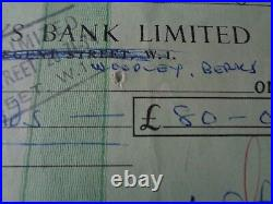 The Rolling Stones Autograph Brian Jones Signed Barclays Bank Check 1 May 1965