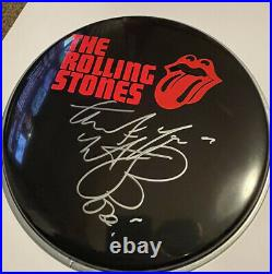 The Rolling Stones Charlie Watts Hand Signed Drumhead Rare Jagger